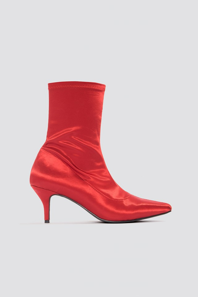 Satin Kitten Heel Sock Boots Red