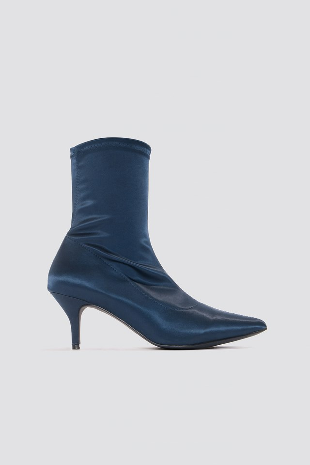 Satin Kitten Heel Sock Boots Dark Blue