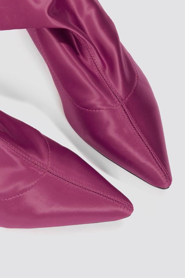 Satin Kitten Heel Sock Boots Burgundy