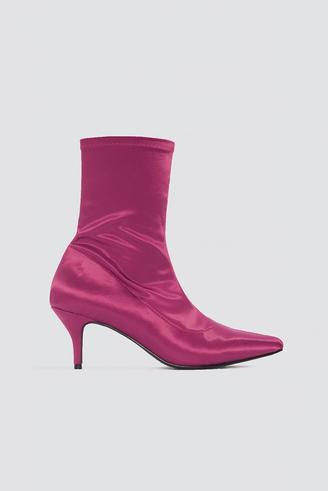 Satin Kitten Heel Sock Boots Burgundy