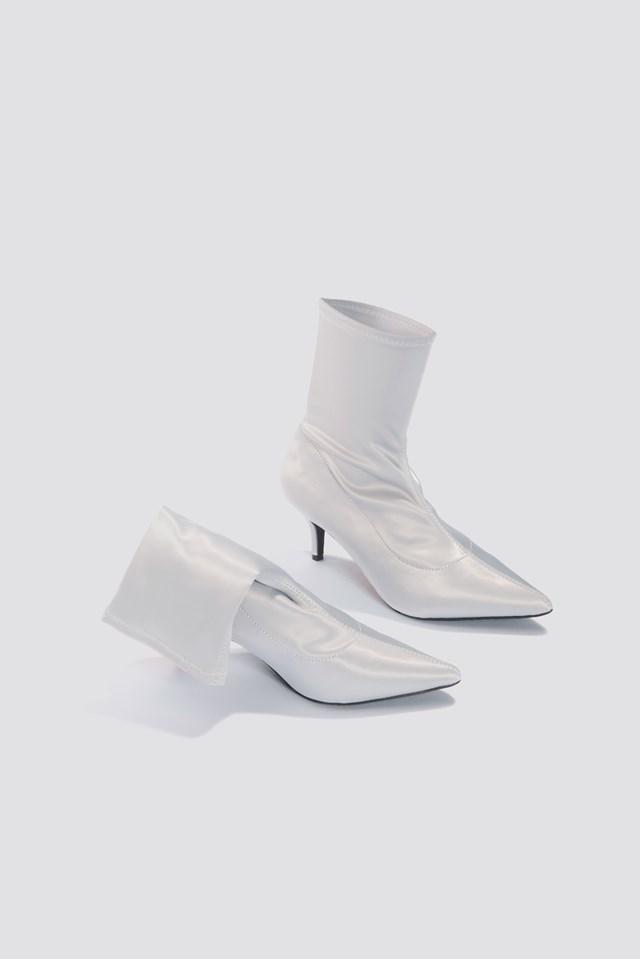 Satin Kitten Heel Sock Boots Silver Gray
