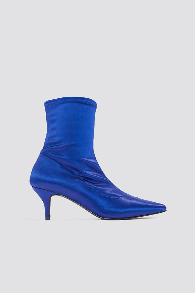 Satin Kitten Heel Sock Boots NA-KD Shoes