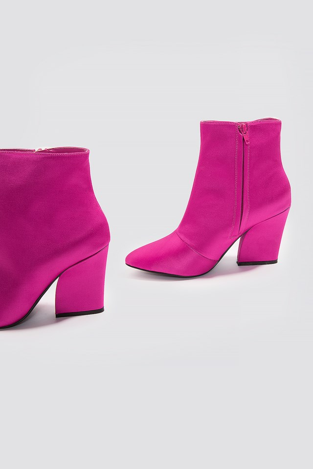 Satin Mid Heel Boots Strong pink