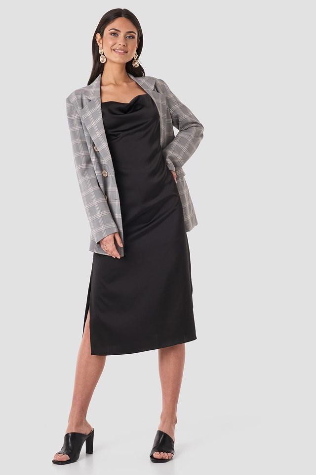 Satin Midi Slip Dress Black