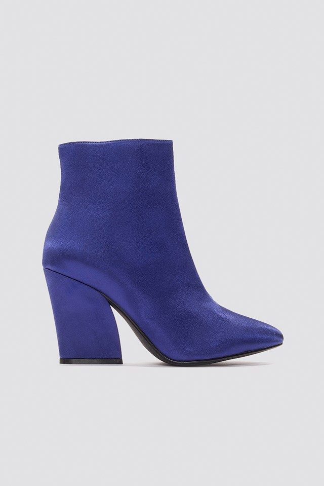 Satin Mid Heel Boots Dark Blue