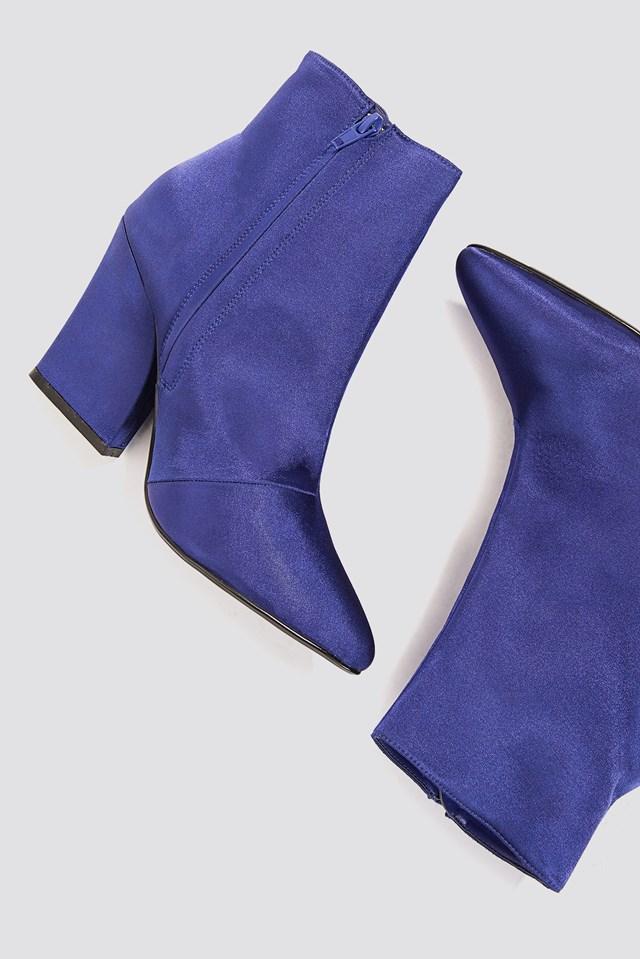 Satin Mid Heel Boots Dark Blue