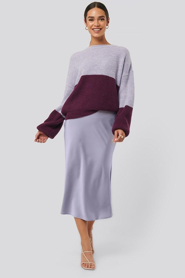 Satin Skirt Purple