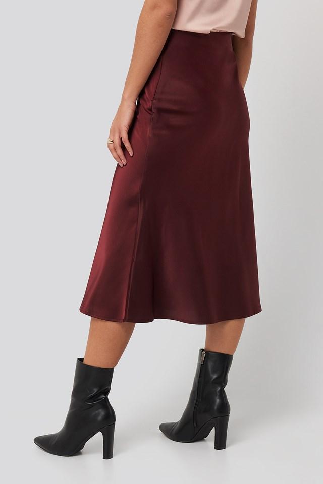 Satin Skirt Burgundy