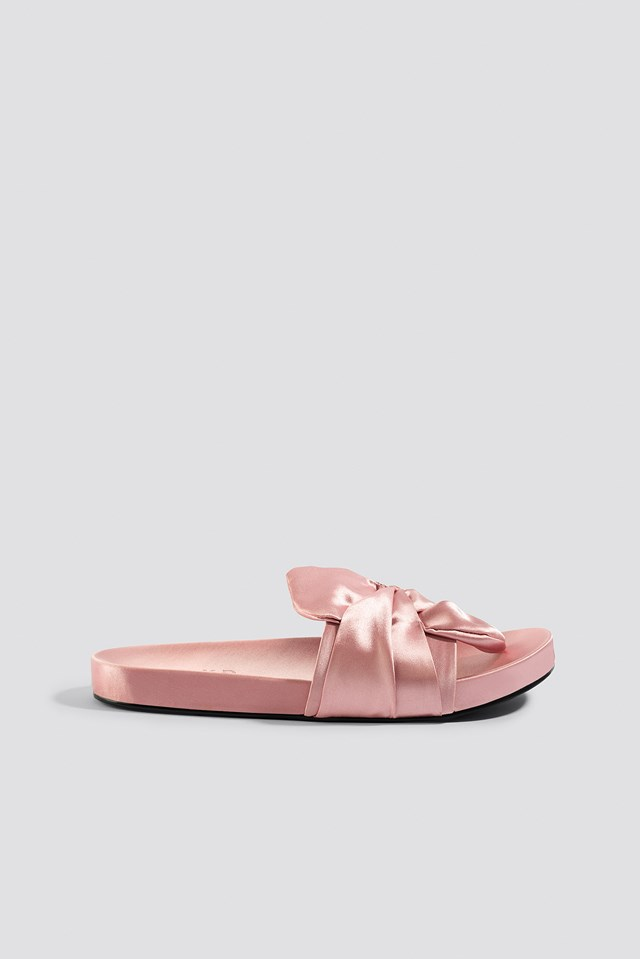 Knot Satin Slippers Light Pink