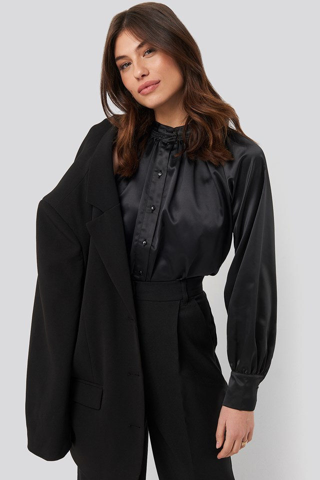 Satin Smock Blouse Black