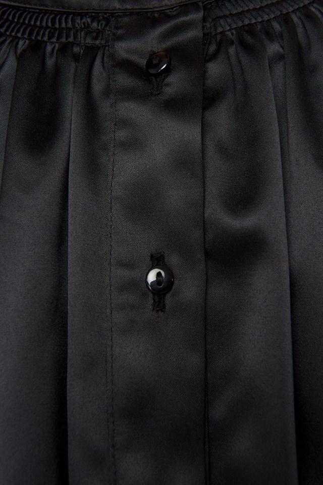Satin Smock Blouse Black