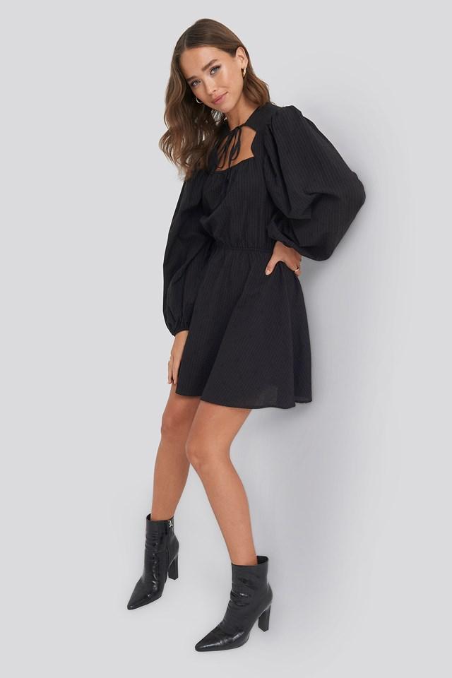 Scalloped Neckline Mini Dress Black