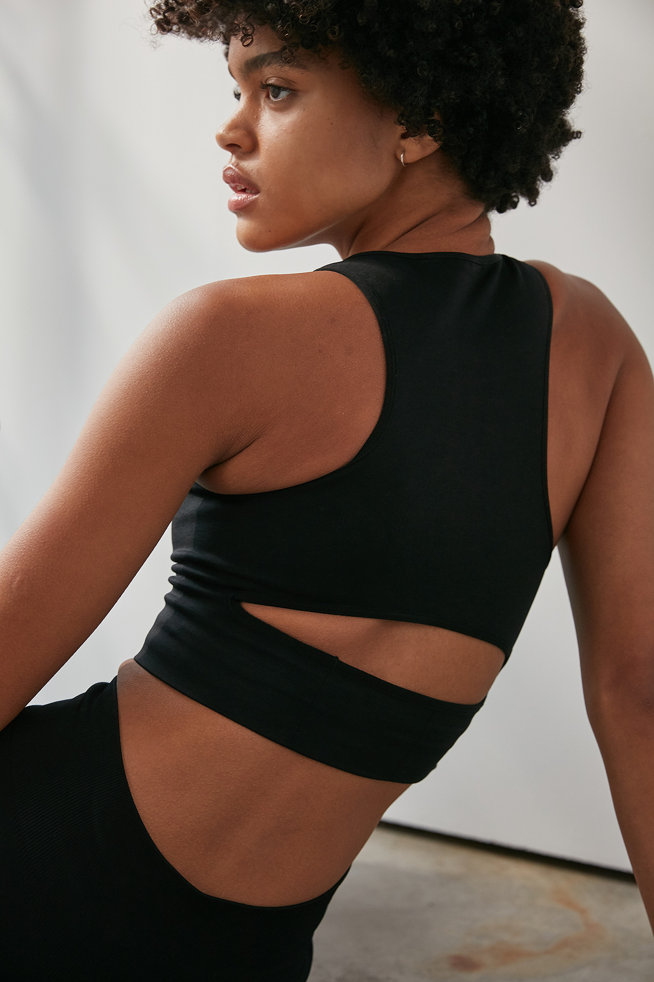 Black Seamless Cut Out Bra Top
