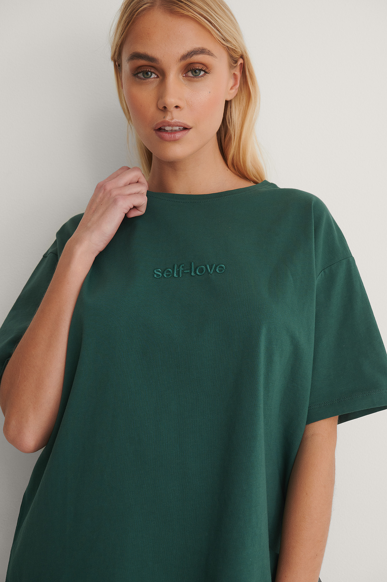 Green Organic Self Love Embroidery Print Tee