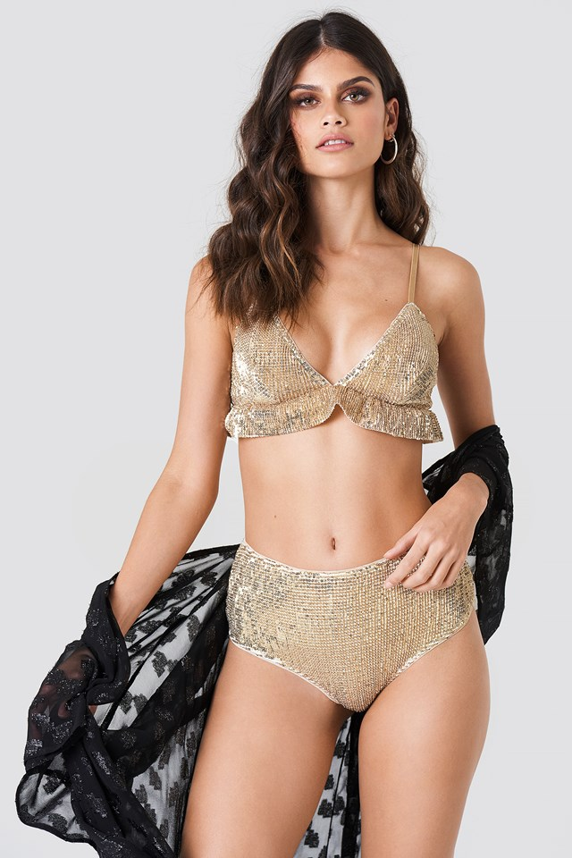 Sequins High Waist Bottom Light Gold