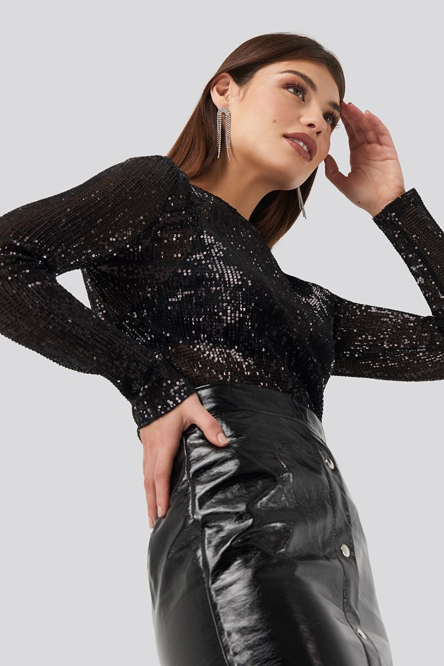 Sequin Round Neck Top NA-KD Party