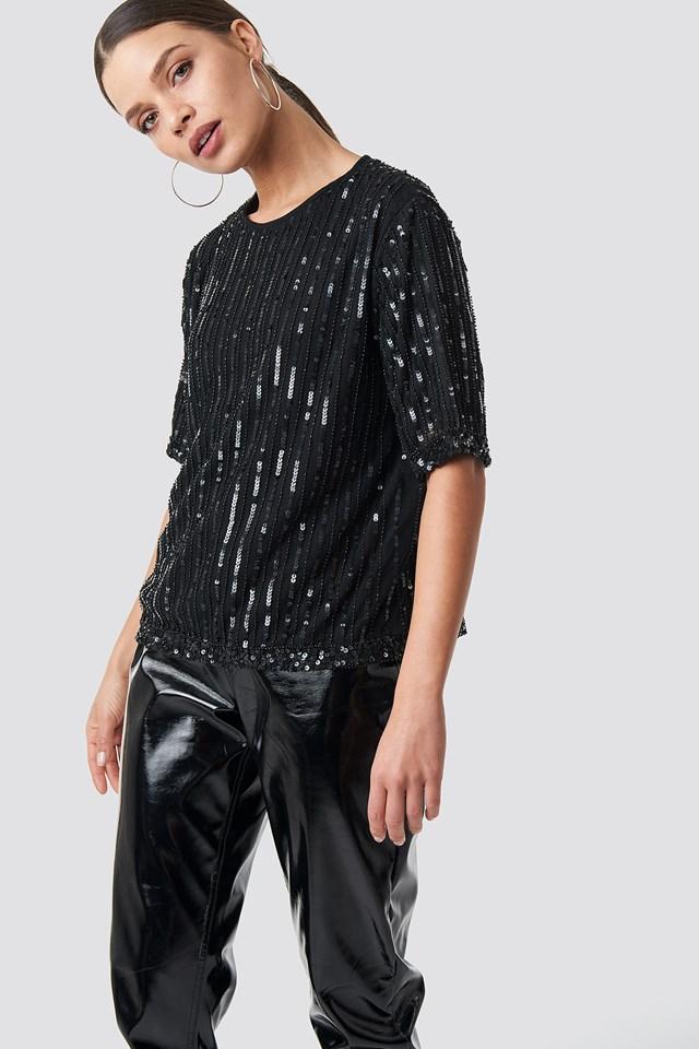 Sequins Top Black