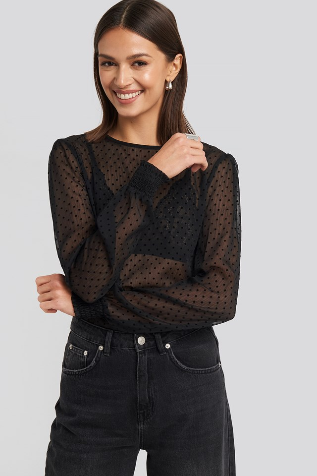 Sheer Dotted Round Neck Blouse Black
