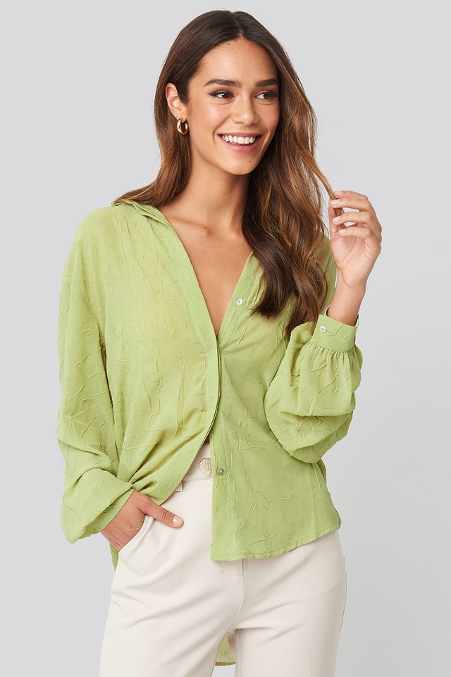 Sheer Wrinkle Effect Blouse Lime