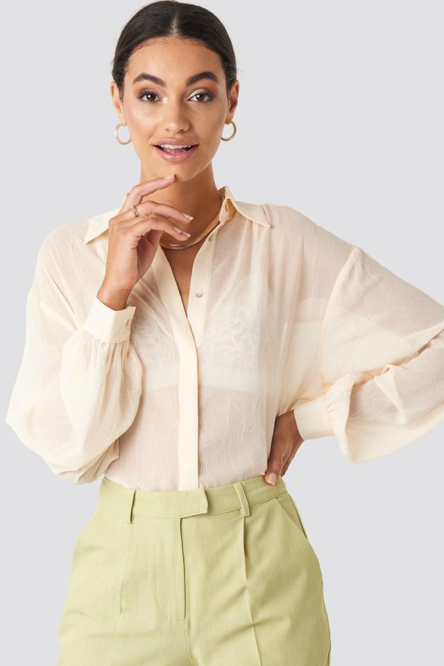Sheer Wrinkle Effect Blouse Cream