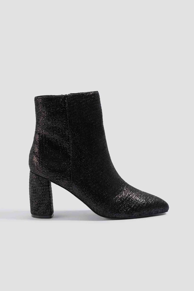 Shimmery Structured Boots Black