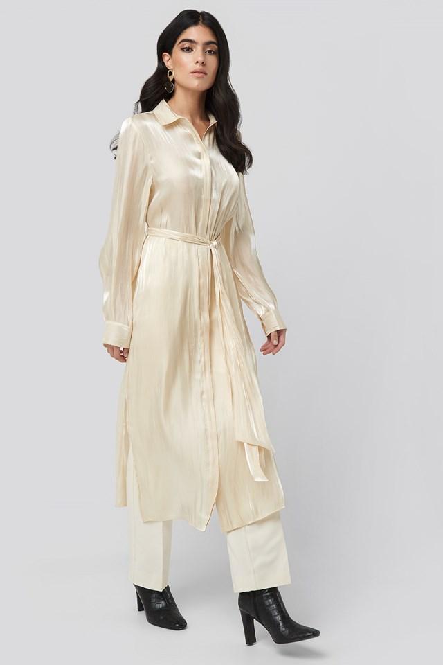Shiny Long Shirt Dress Pearl