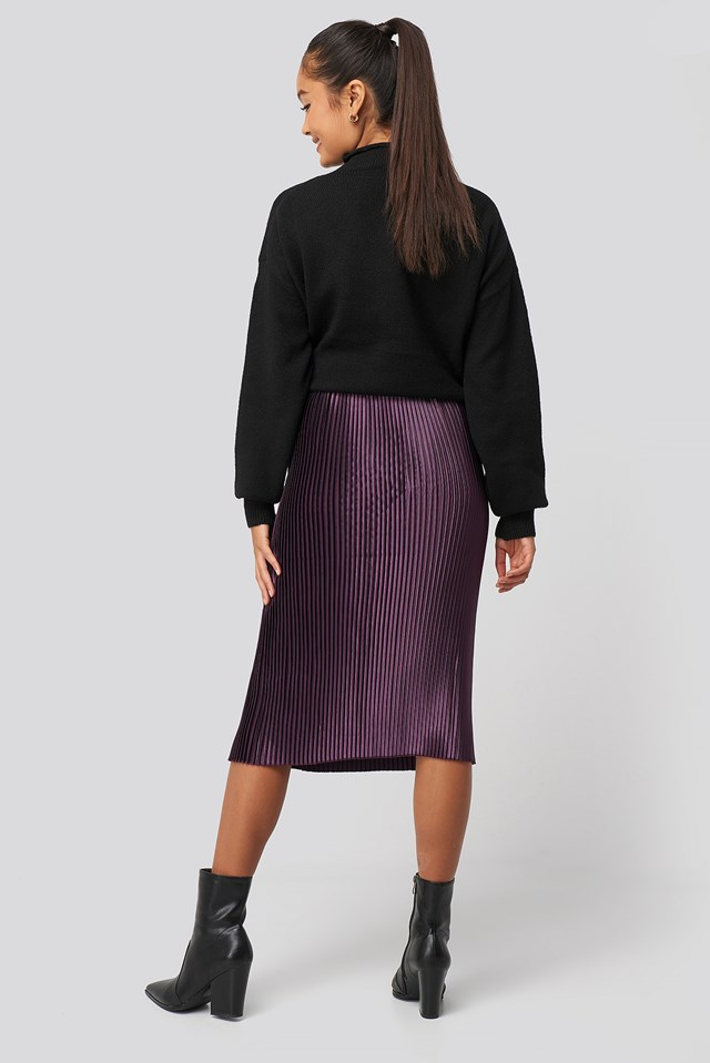 Shiny Pleated Skirt Dark Purple