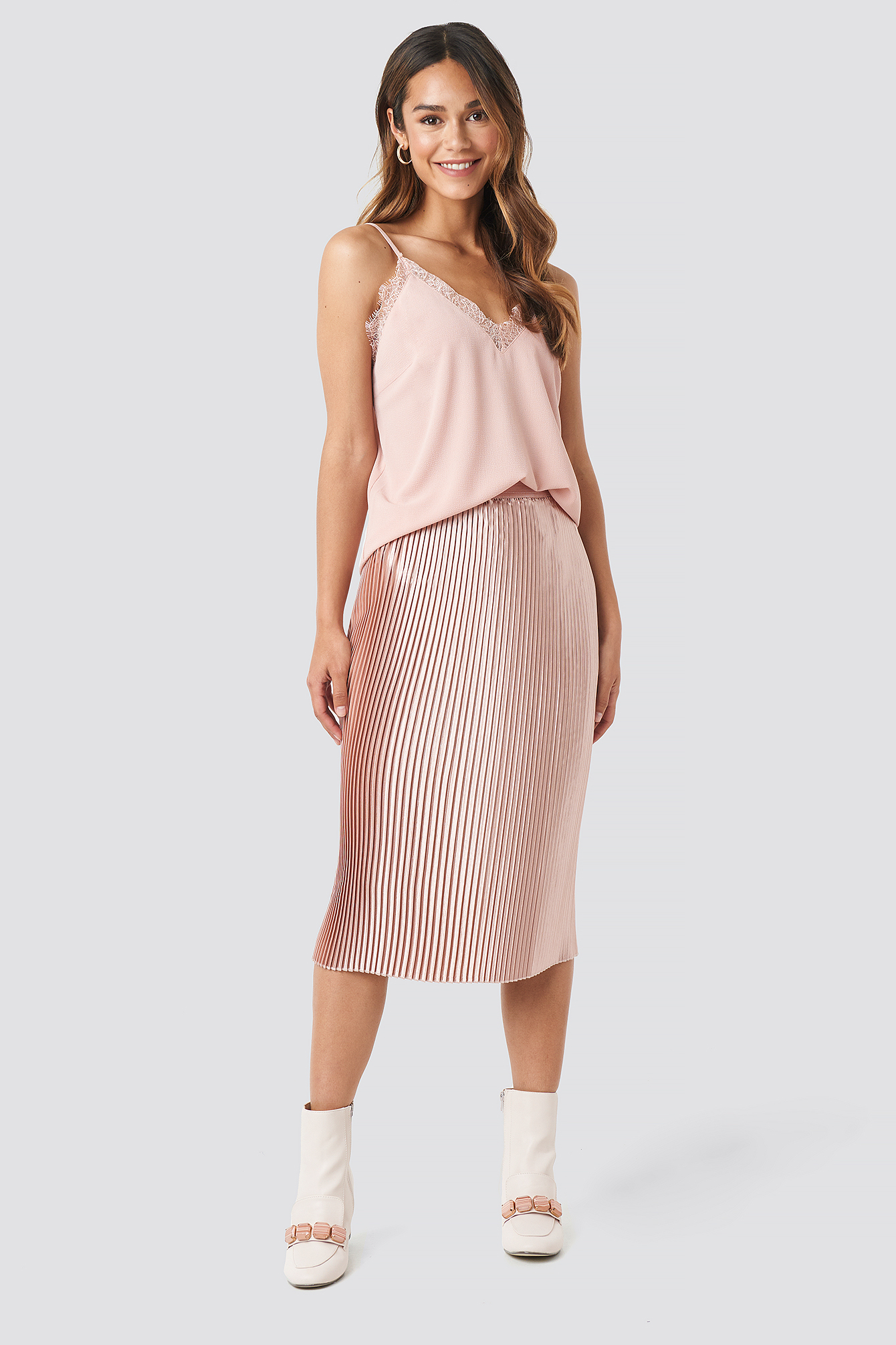 Dusty Pink Shiny Pleated Skirt