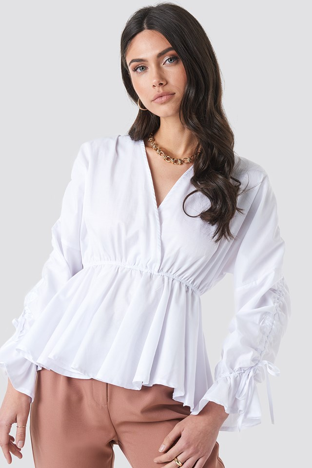 Shirred Waist Blouse White