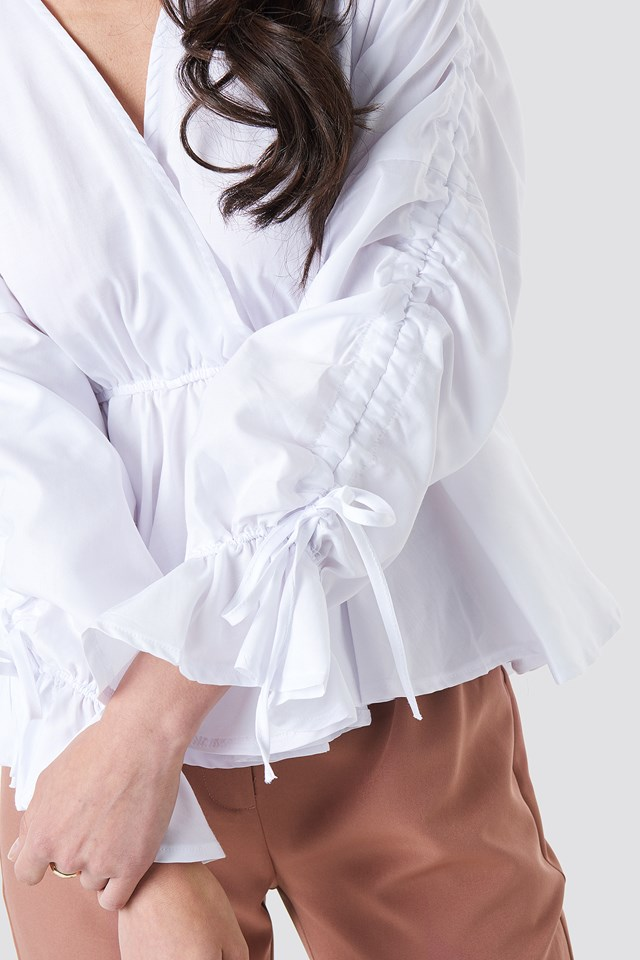 Shirred Waist Blouse White