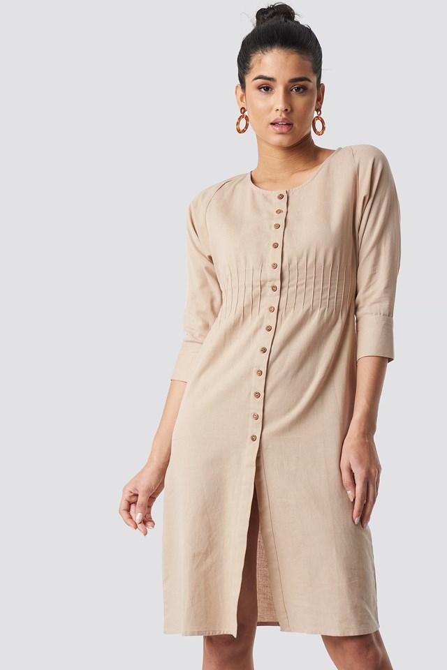 Shirred Waist Buttoned Midi Dress Beige