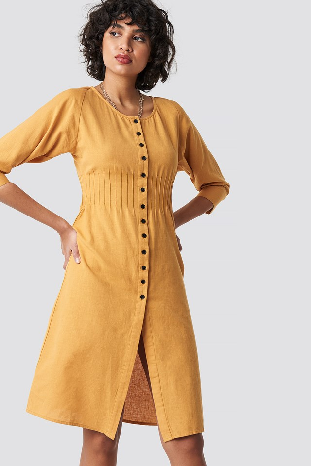 Shirred Waist Buttoned Midi Dress Mustard Yellow