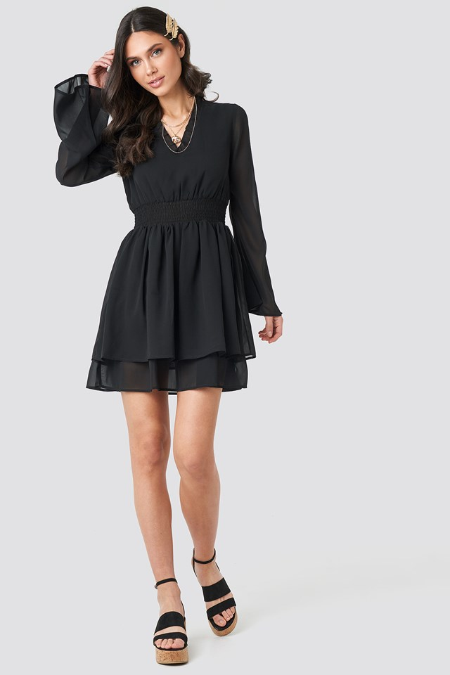 Shirred Waist Detail Dress Black