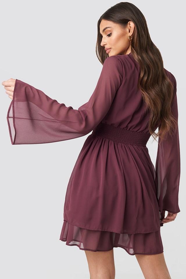 Shirred Waist Detail Dress Burgundy