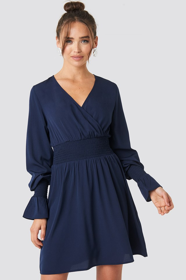 Shirred Waist Wrap Mini Dress NA-KD Boho