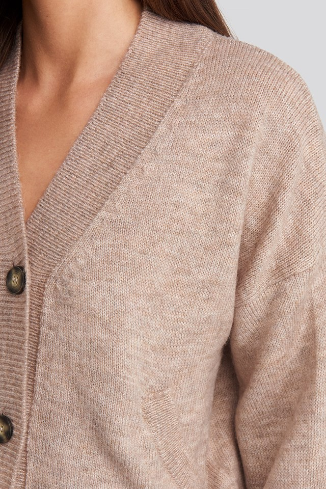 Short Button Front Cardigan Dusty Pink