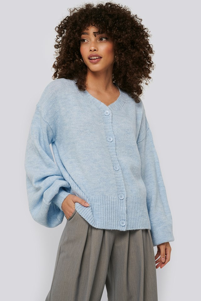Short Chunky Knit Cardigan Light Blue