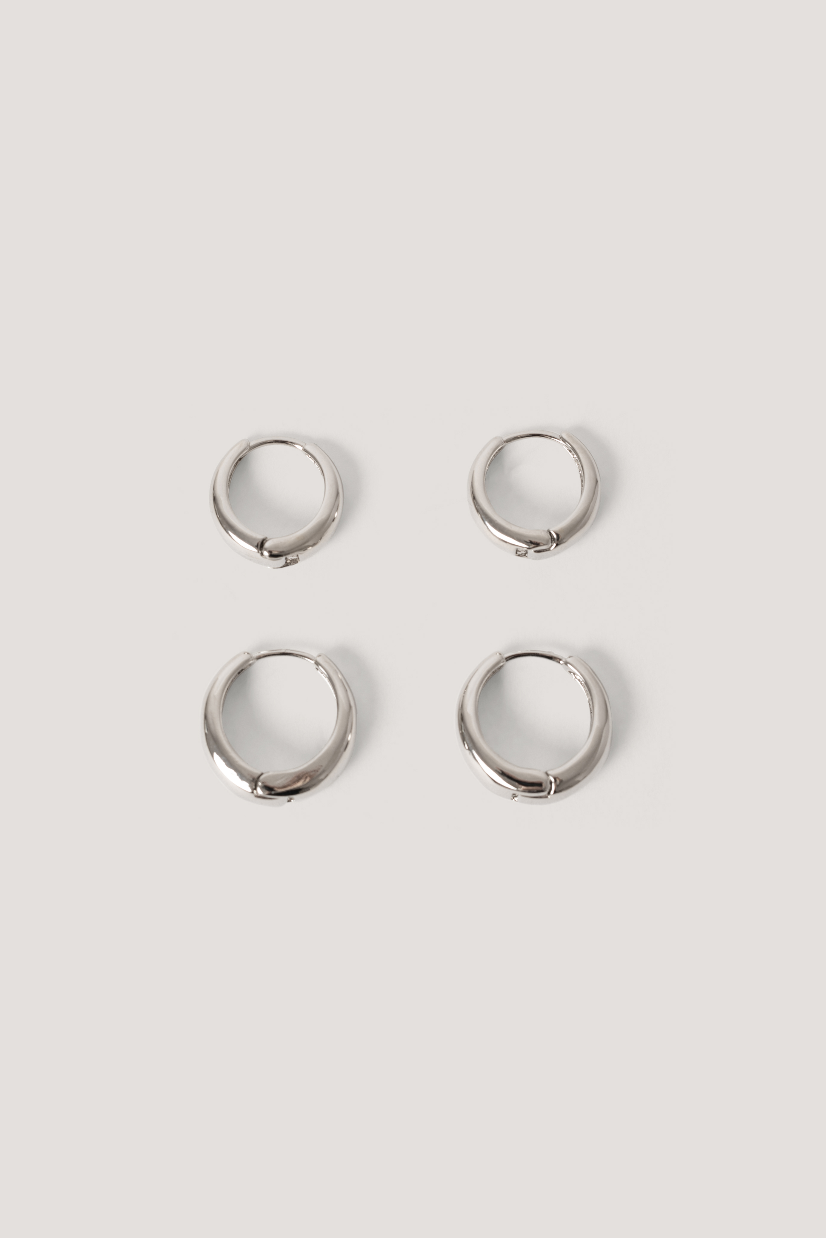 Silver Short Hoop Earrings (2-Pack)