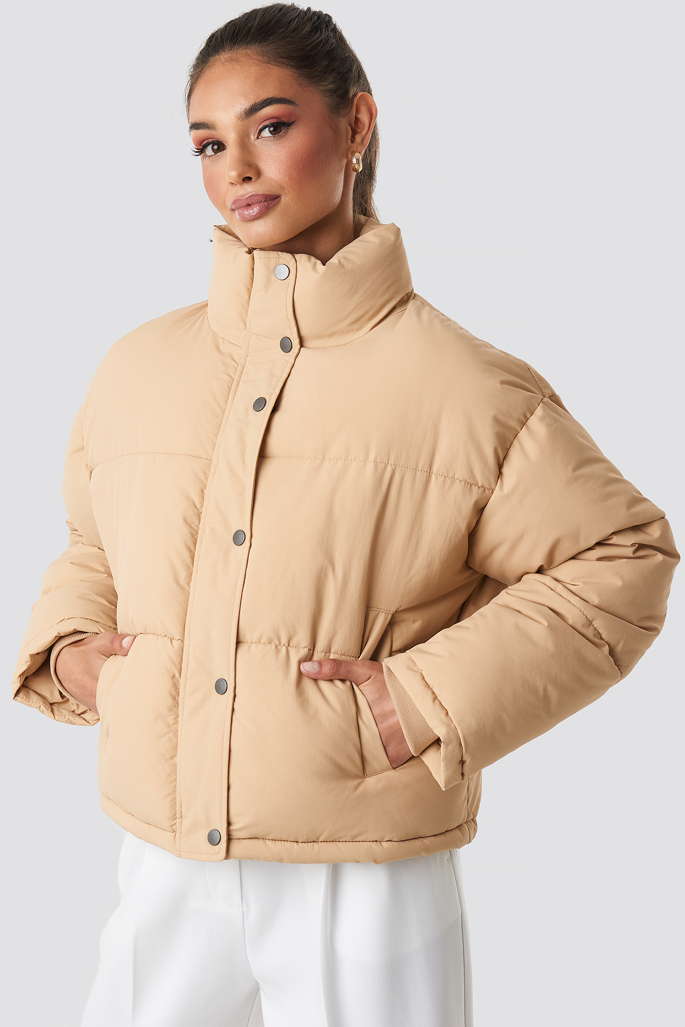 Beige Short Padded Jacket