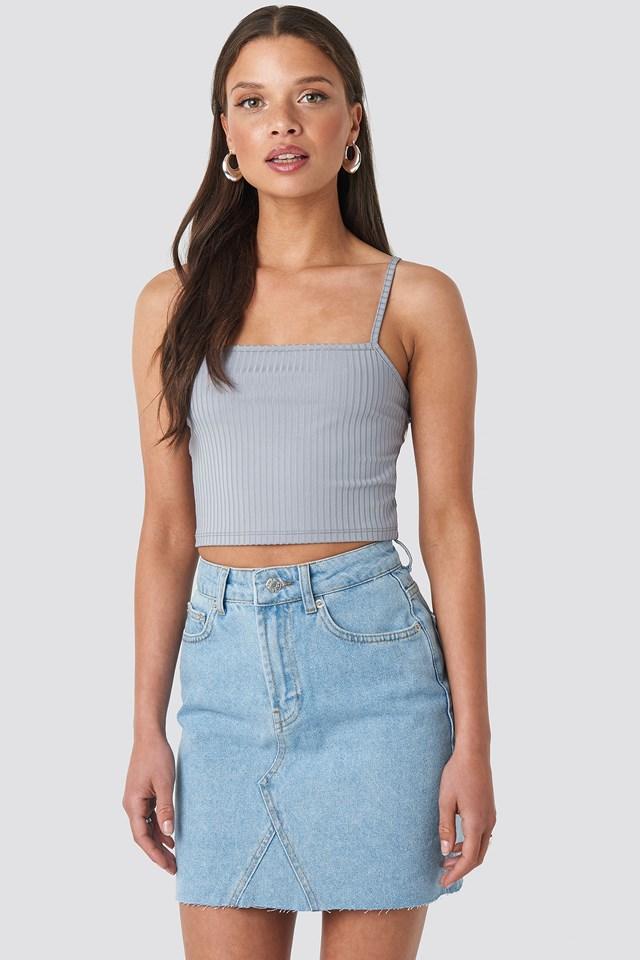 Short Raw Hem Denim Skirt Light Blue