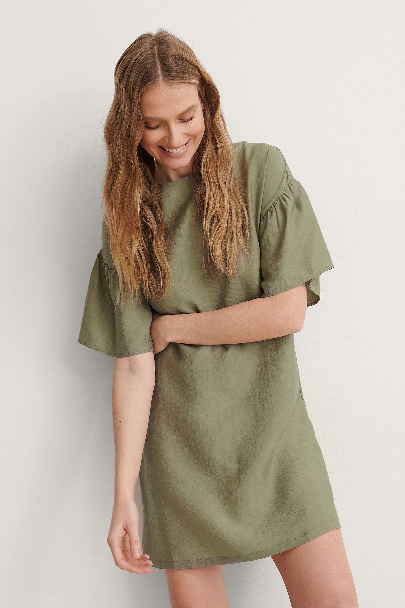 Green Short Ruffle Sleeve Dress