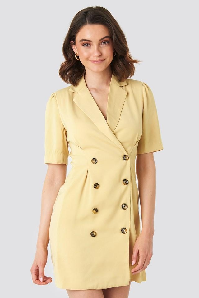 Short Sleeve Blazer Dress Light Yellow