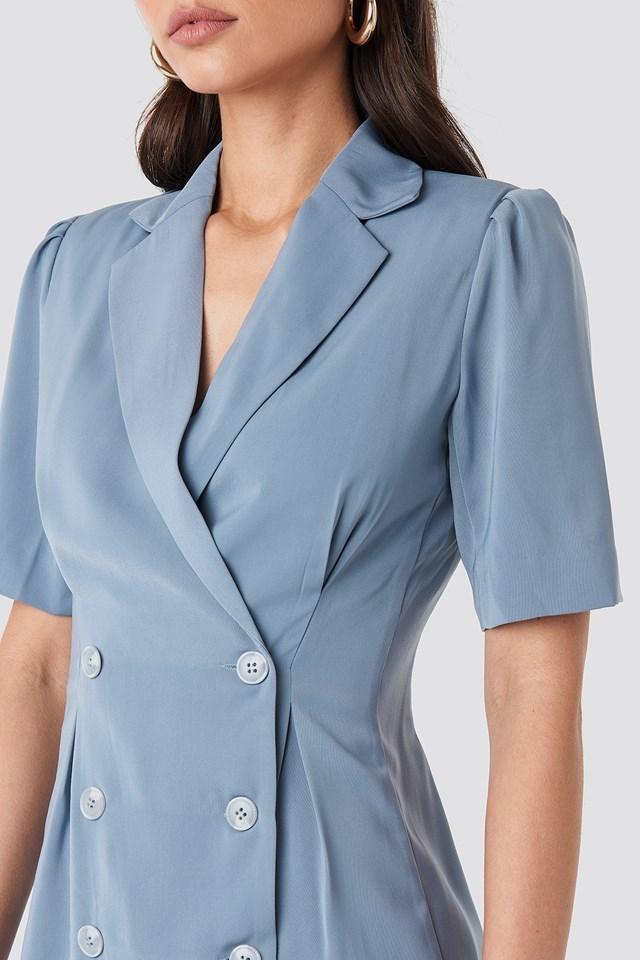 Short Sleeve Blazer Dress Dusty Blue