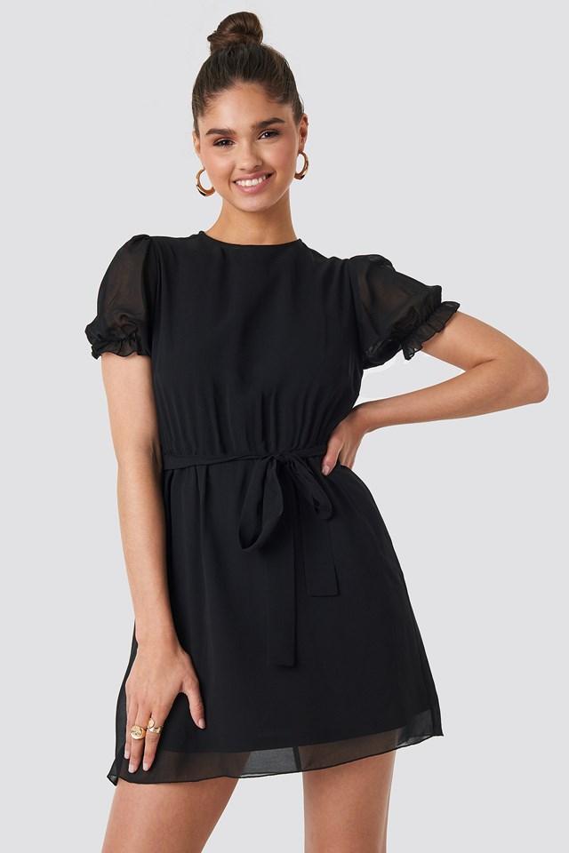 Short Sleeve Chiffon Dress Black