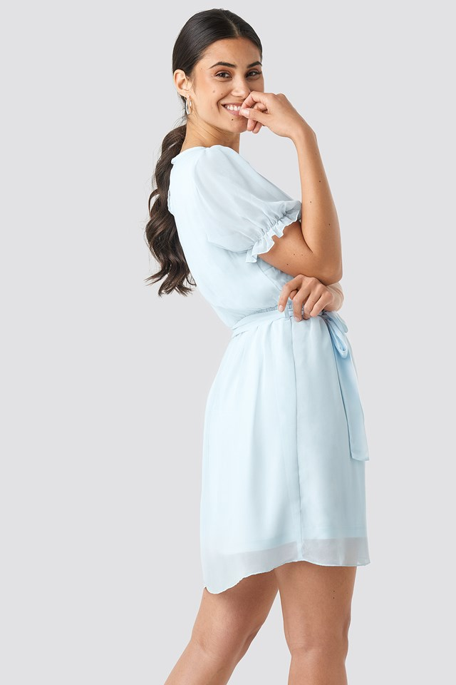 Short Sleeve Chiffon Dress Pale Blue