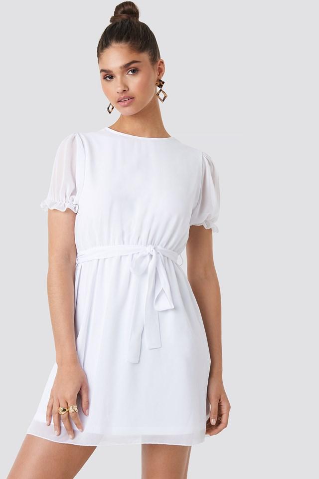 Short Sleeve Chiffon Dress White