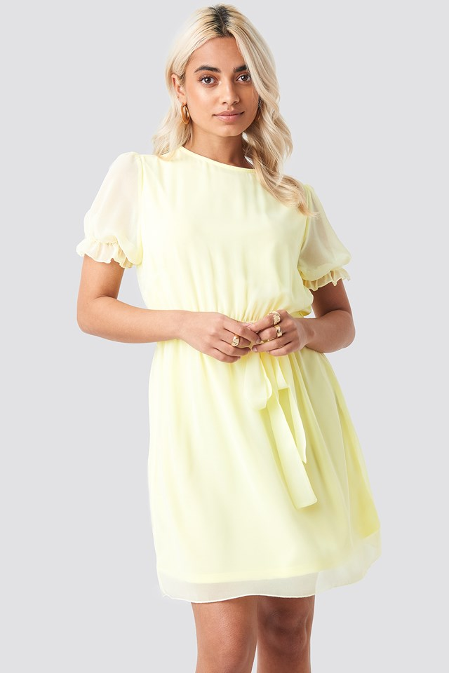 Short Sleeve Chiffon Dress Pale Yellow