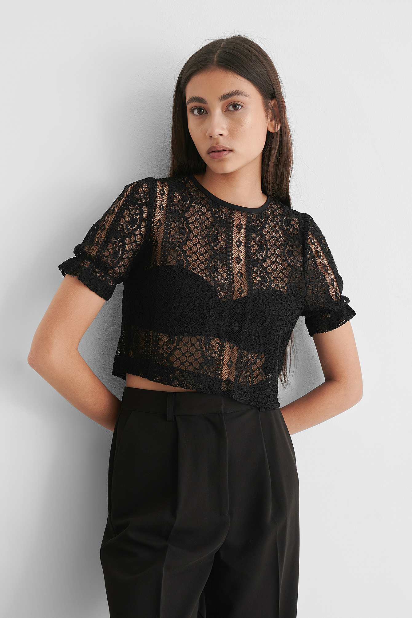 Black Short Sleeve Lace Top