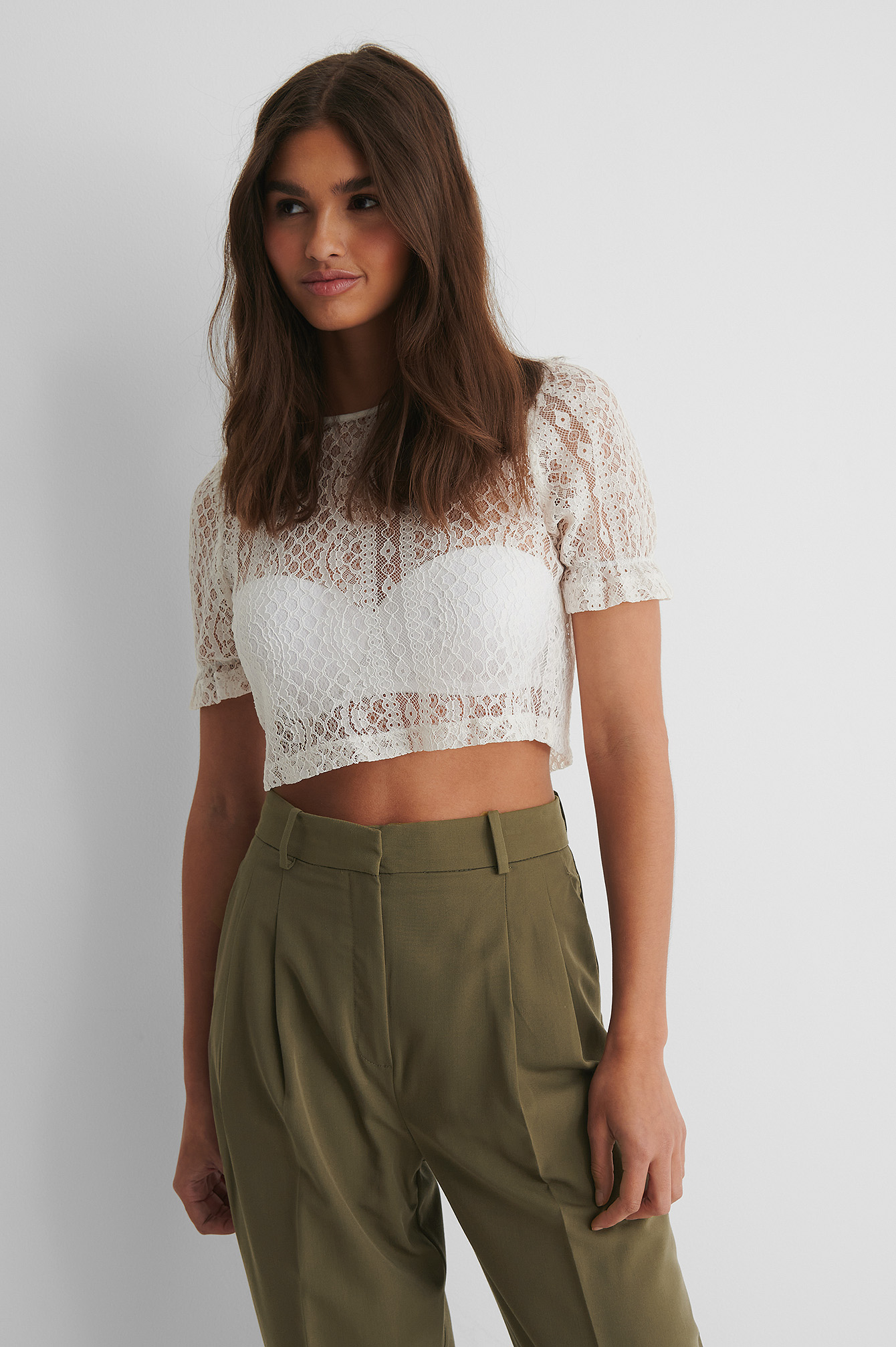 Off White Short Sleeve Lace Top