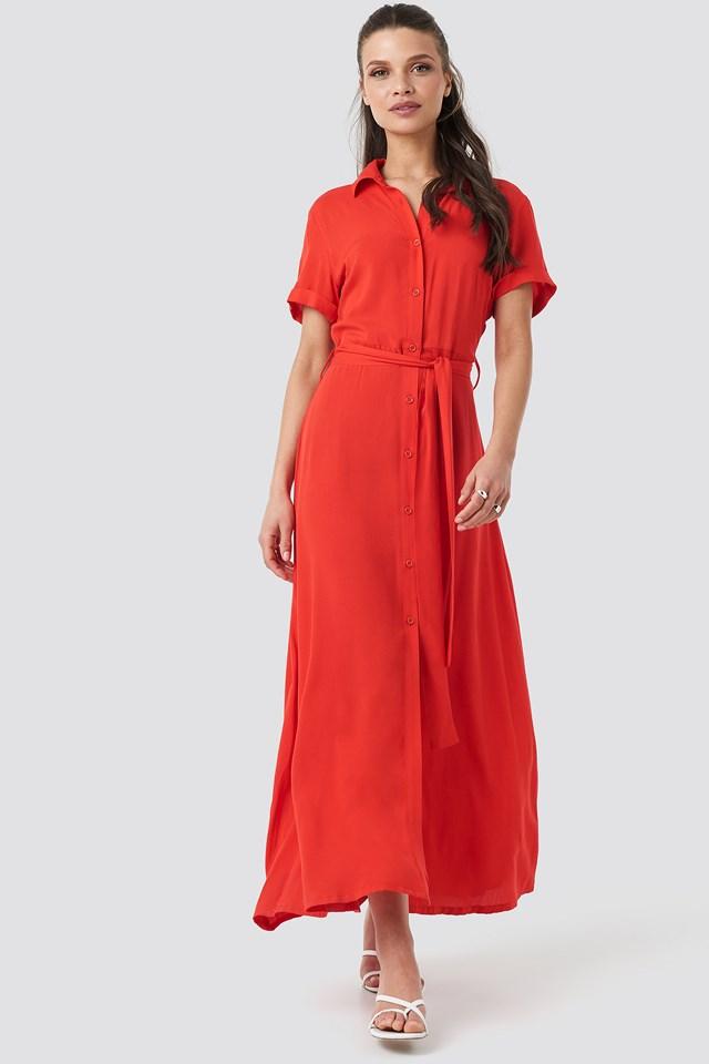 Short Sleeve Maxi Dress Red